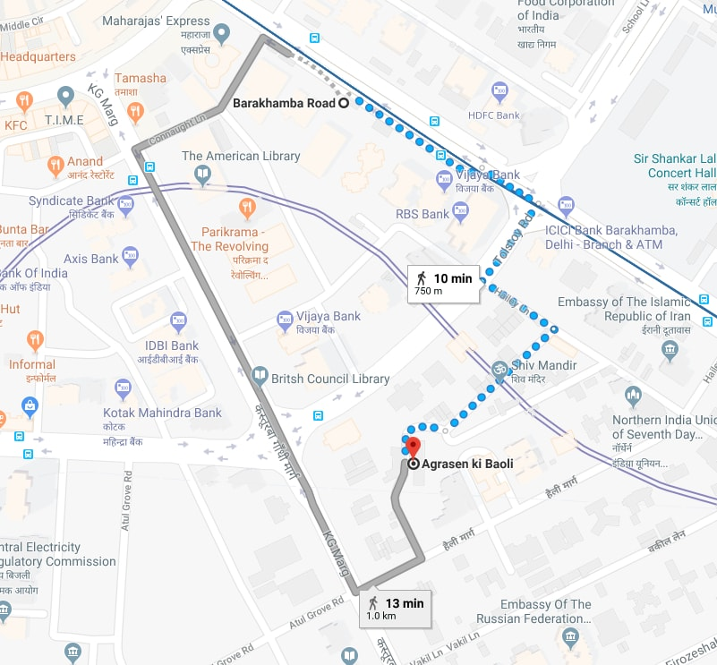 barakhamba metro station to agrasen ki baoli by walking.jpg