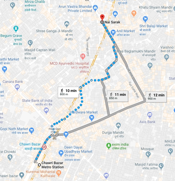 chawri bazaar metro station to nai sarak by walking.jpg