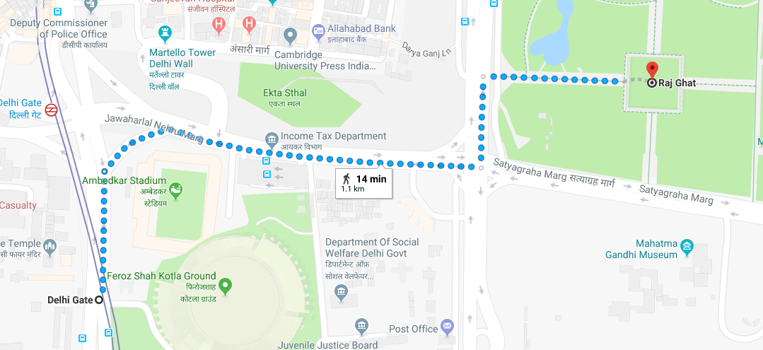 delhi gate metro station to raj ghat by walking.png