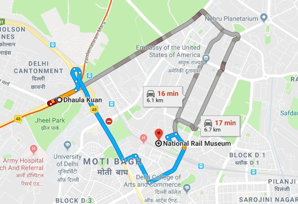 dhaula kuan metro station to rail museum.jpg