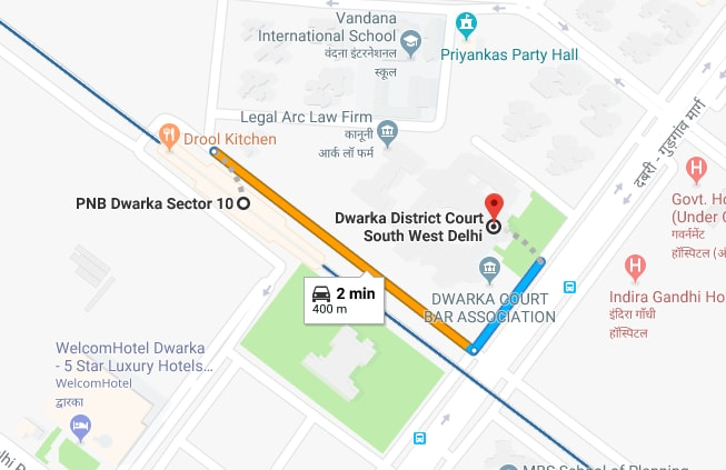 dwarka sector 10 metro station to dwarka court by car.jpg