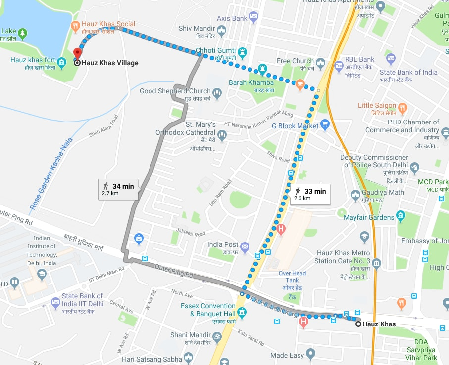 haus khas metro station to hauz khas village by walking.jpg