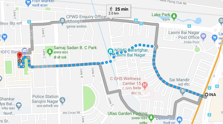 INA metro station to Sarojini Nagar market by walking.jpg