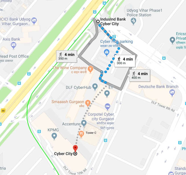 indus bank metro station to cyber city by walking.jpg