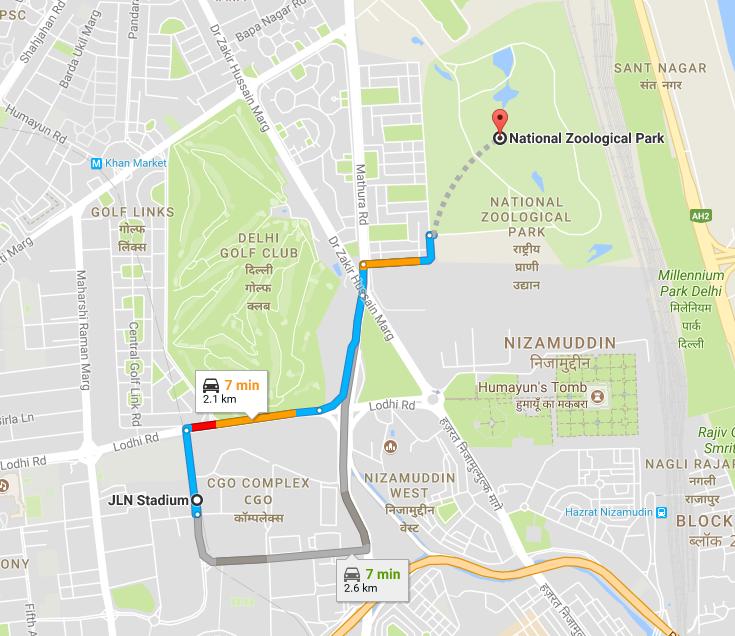 JNL Stadium Metro Station to Delhi Zoo.