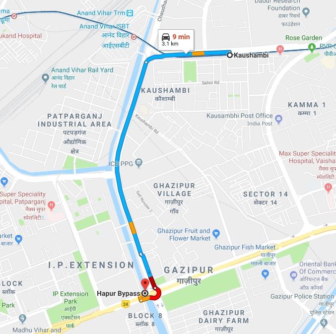 kaushambi metro station to delhi hapur bypass by car.jpg