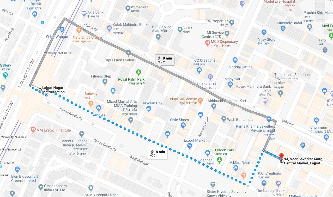 lajpat nagar metro station to lajpat nagar market by walking.jpg