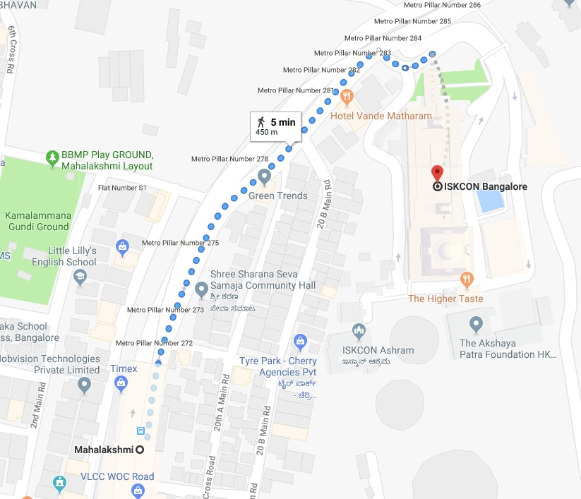 mahalakshmi metro station to ISKCON temple by walk.jpg