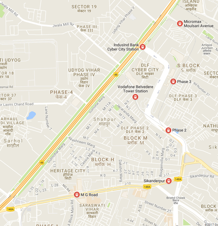 Nearest metro station to Udyog Vihar.png