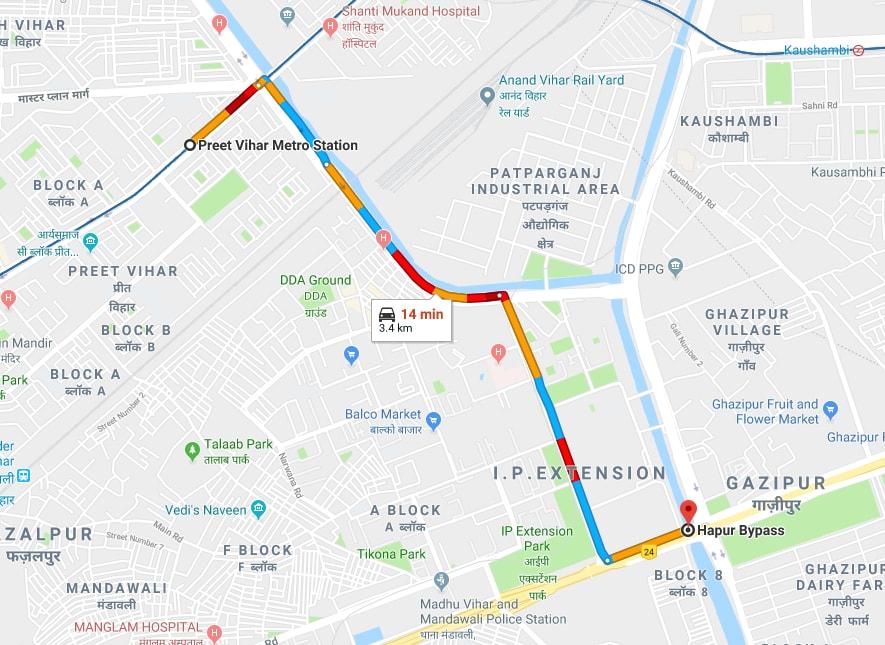 preet vihar metro station delhi hapur bypass by car.jpg