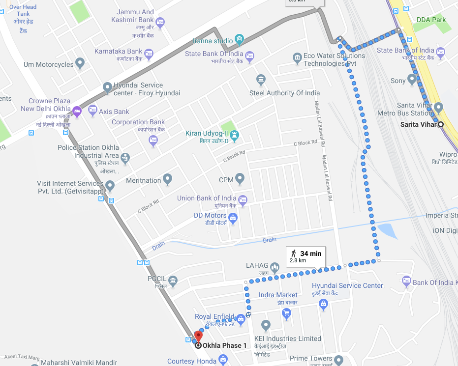sarita vihar metro station to okhla phase 1 by walking.png