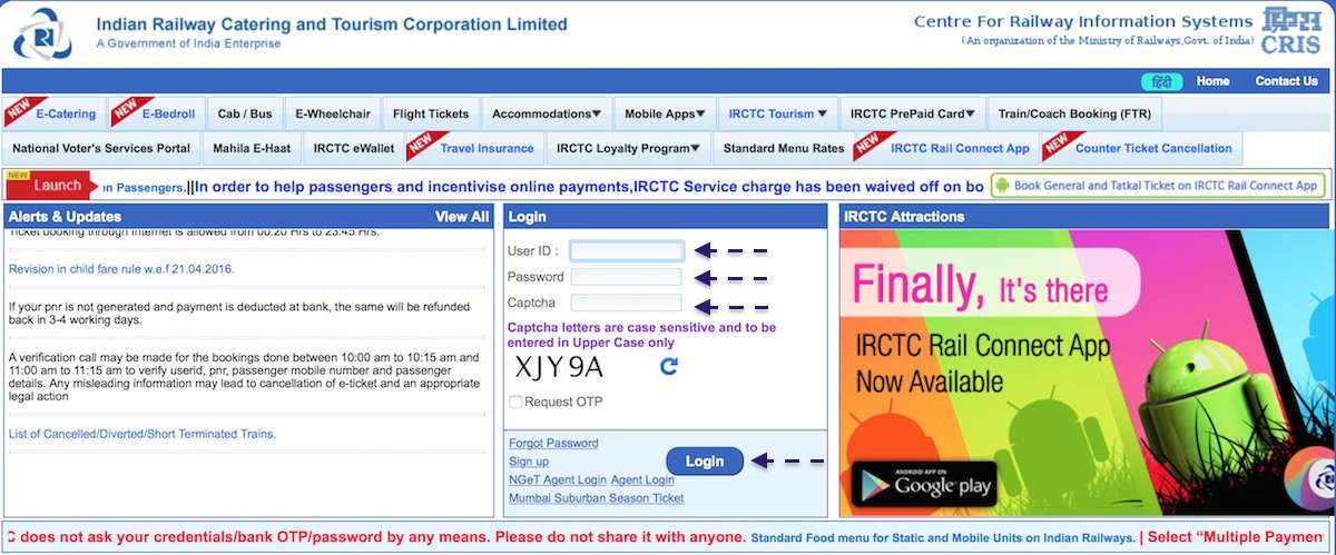 The IRCTC Website​.