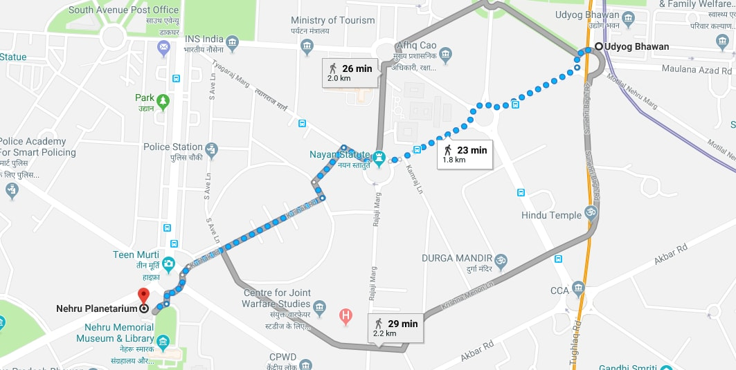 Udyog Bhawan metro station to Nehru Planetarium by walking.jpg